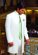 Andrew Fezza White 'Jupiter' 10 button standup collar tuxedo coat