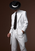 After Six White Striped Zoot Suit Coat