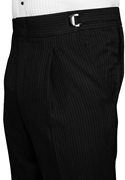 Black Pleated Striped Super 100's Trousers