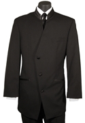 FCGI  Black 'Matisse' 3 Button Diagonal Mandarin Collar Tuxedo Coat