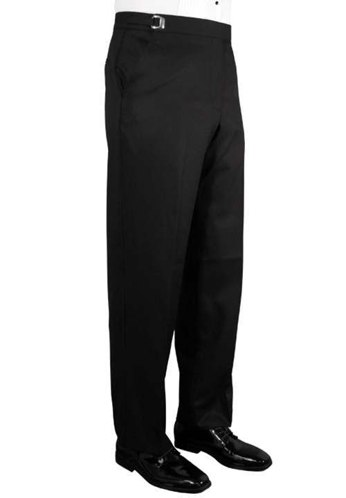 NEW Jean Yves Fitted Black 'Ridge' Tonal Stripe Flat Front Trouser