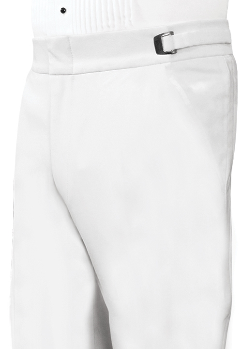 Classic Collection Flat Front White Trousers