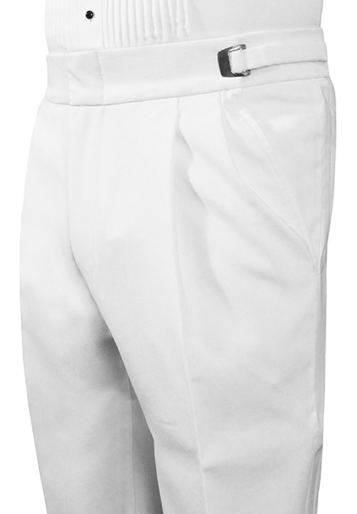 Classic Collection Double-Pleated White Trouser