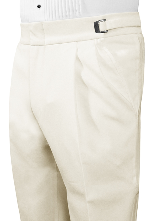 Classic Collection Double-Pleated Ivory Trouser