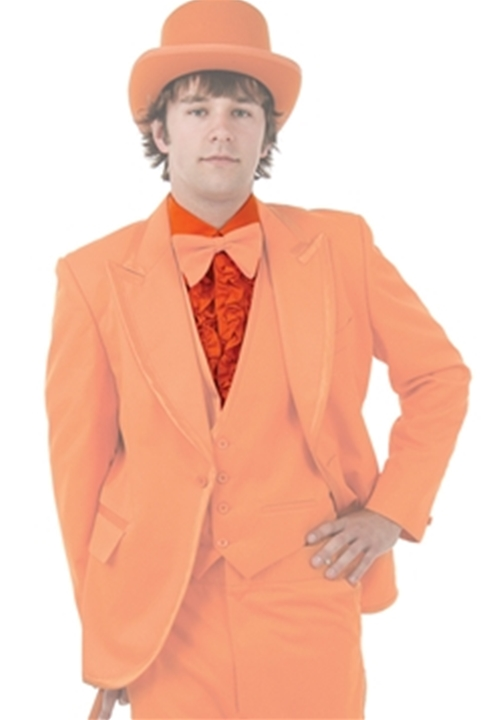 Bright Colored Tuxedos Orange Ruffled Turndown Collar Shrit