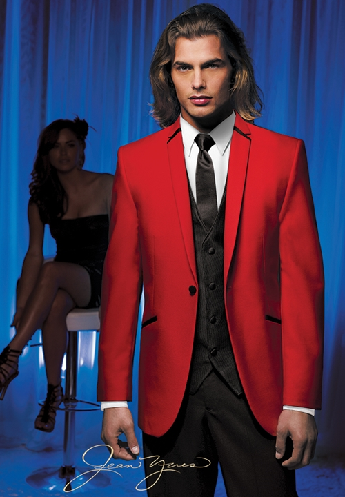 Red Illusion Tuxedo Coat by Jean Yves