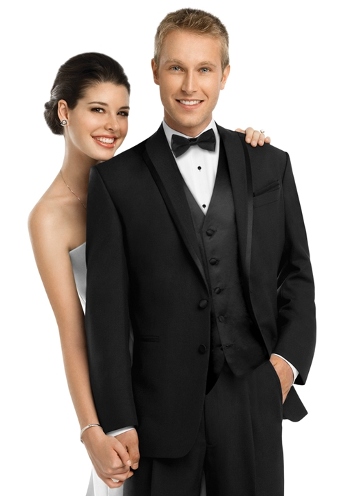 Subtle, elegant, and classy, the black 'LaStrada' After Six tuxedo coat has everything you need to look your best.