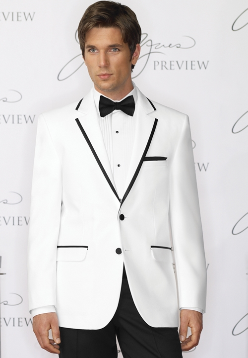 Jean Yves White with Black Trim Tuxedo Coat