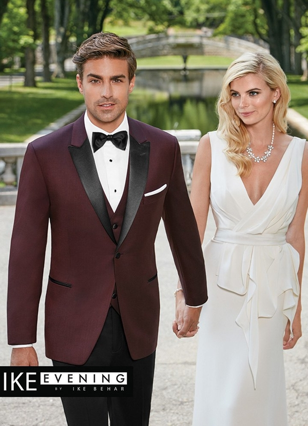 Burgundy Marbella Tuxedo Coat by Ike Behar