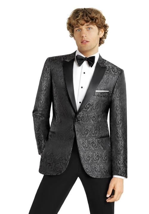 Charcoal Paisley 'Chase' Dinner Jacket by Couture 1910