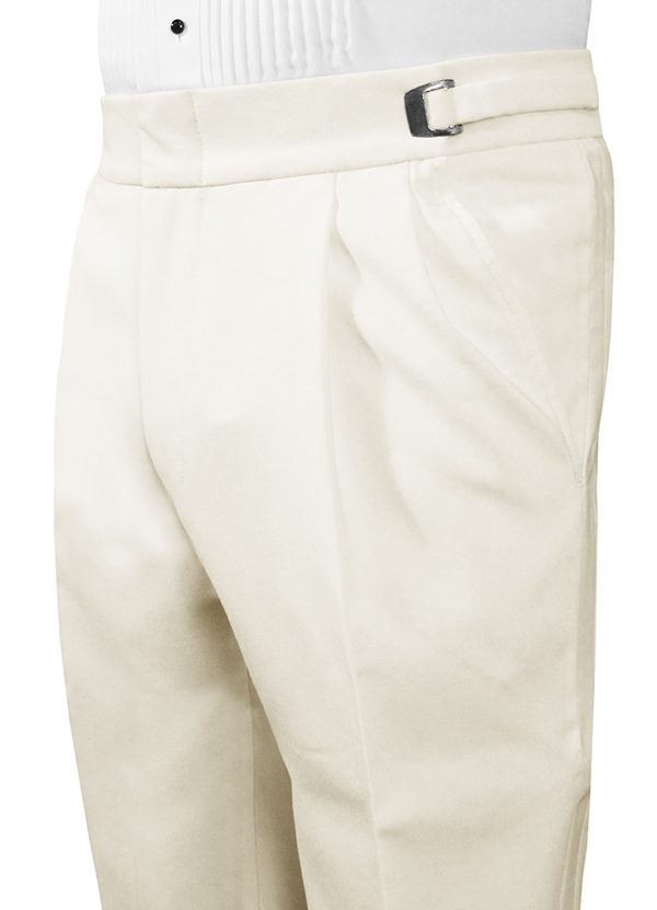 Ivory Double Pleated Trousers