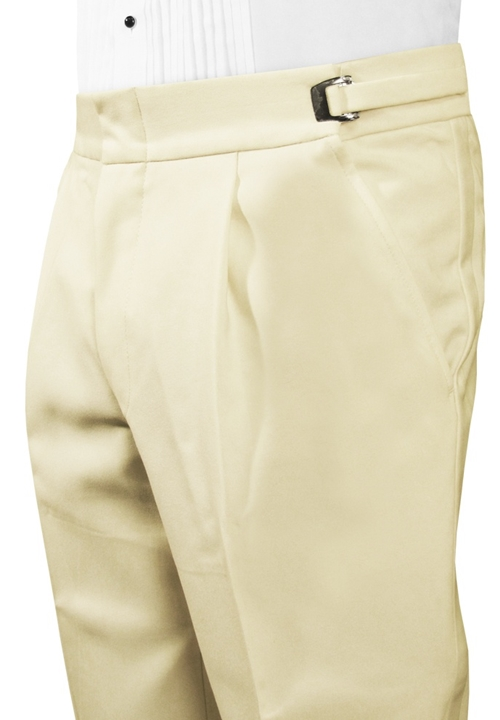 Ivory Single Pleated Pant With Satin Stripe