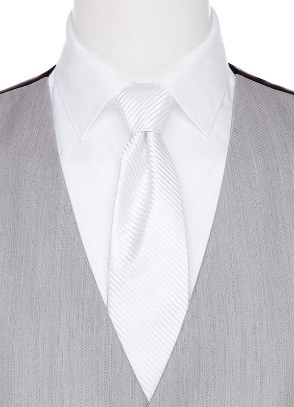 White Diagonal Stripe Long Tie