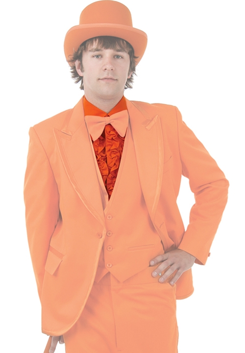 NEW Bright Colored Tuxedos Orange Ruffled Turndown Collar Shrit