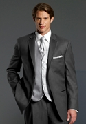 NEW Perry Ellis Evening Grey Stripe 'Madison' Tuxedo Coat