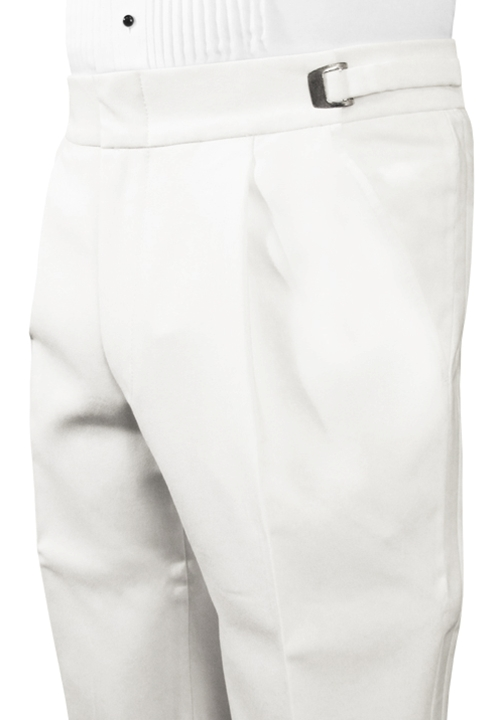 Classic Collection Single Pleated White Trouser