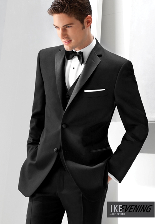 NEW Black 'Parker' Slim Fit Tuxedo Coat by Ike Behar