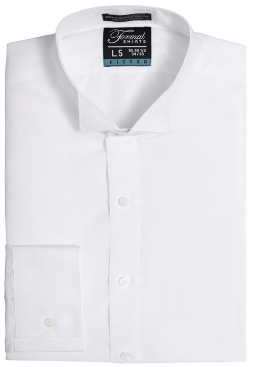 Formal Shirts Fitted White Wing Tip Collar Shirt