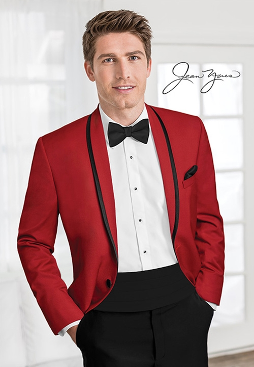 Red Calypso Tuxedo Coat by Jean Yves
