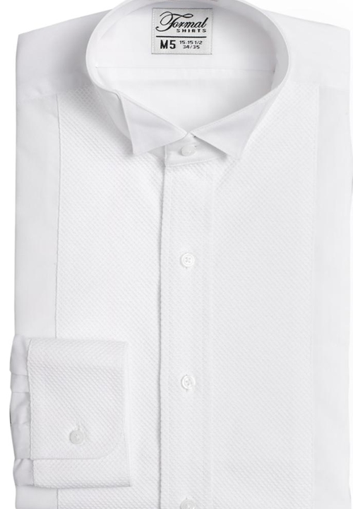 Classic White Pique Wing-Tip Collar Shirt