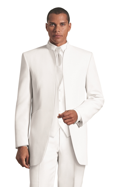 White Mirage Mandarin Coat By Jean Yves