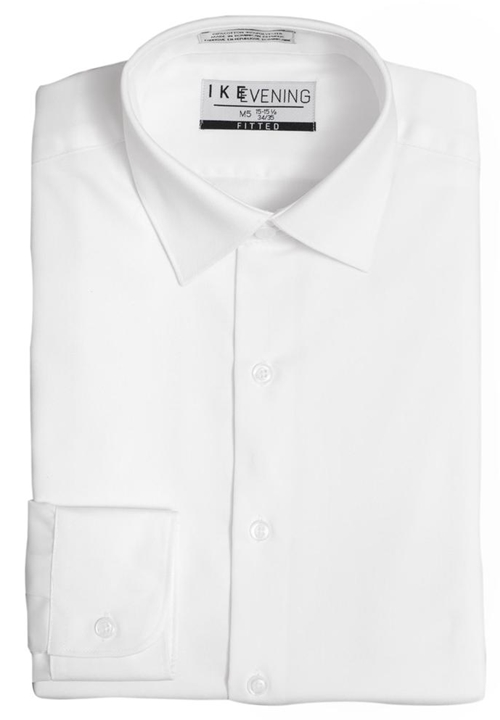 NEW White Fitted Spread Collar Shirt by Ike Behar