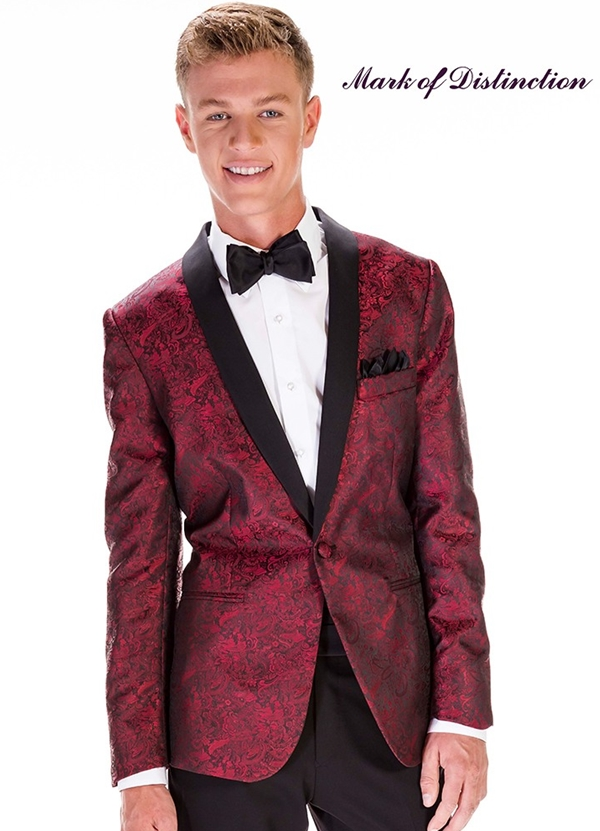 "Apple Red Paisley ""Aries"" Tuxedo Coat"