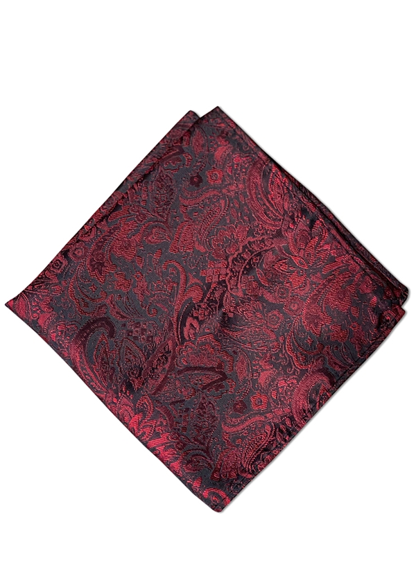 Apple Red Paisley Pocket Square