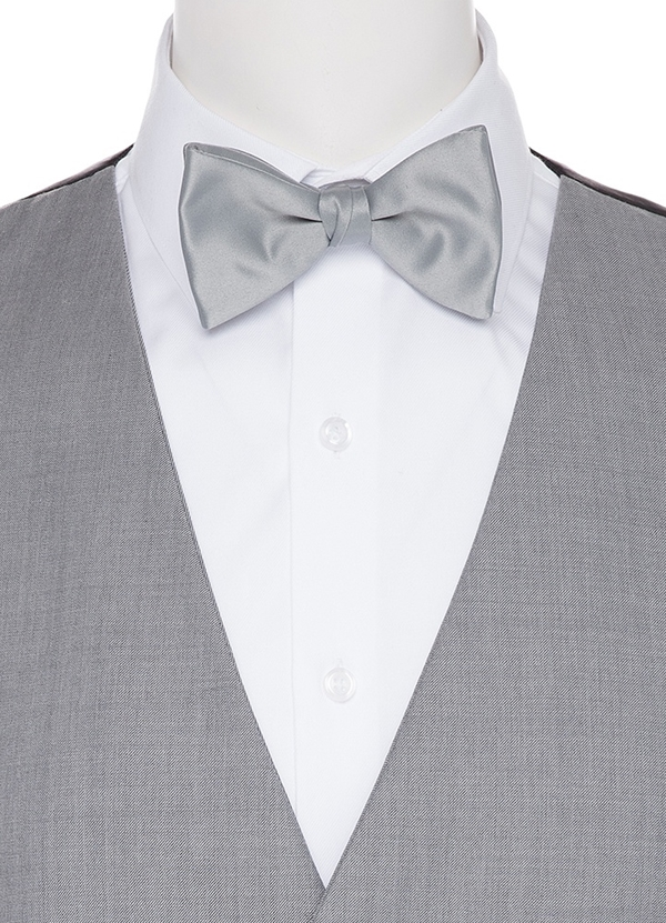 Heather Grey Satin Bow tie