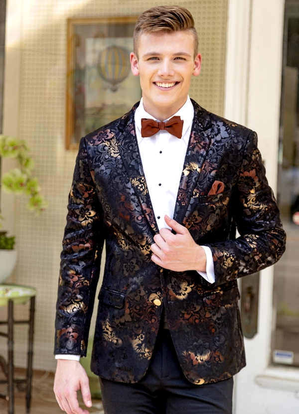 Mark of Distinction Black & Gold Floral 'Ryan' Tuxedo Coat