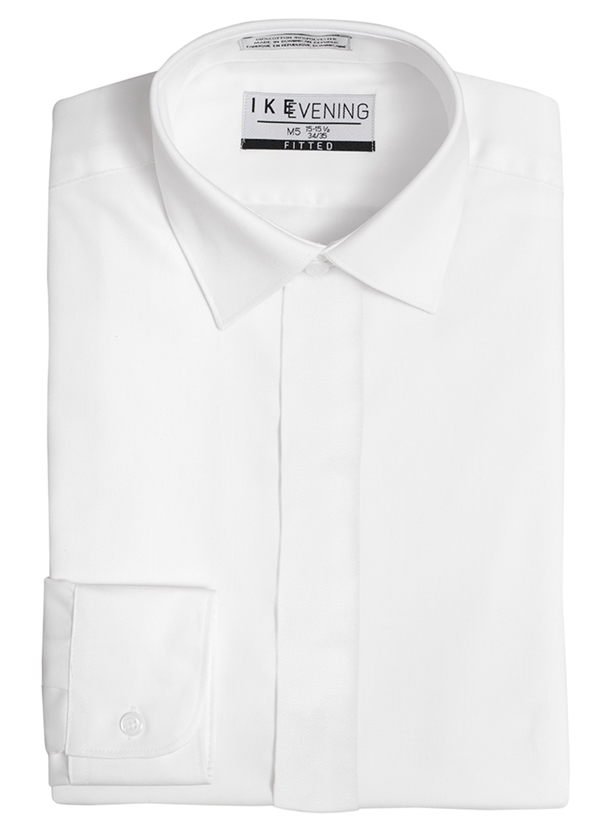 White Fly Front Spread Collar Shirt