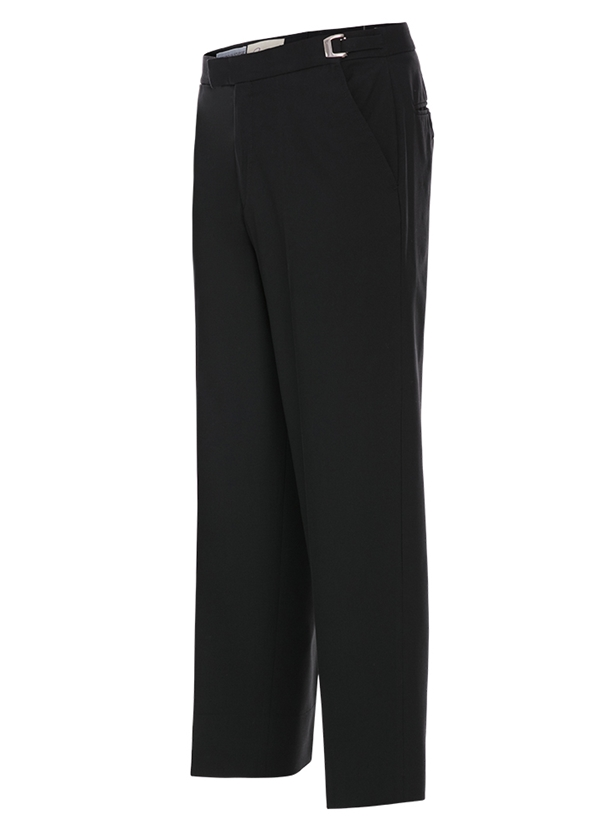 Black Modern Tropical Worsted Wool Suit Trouser